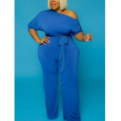 Lovely Casual Drawstring Blue Plus Size One-piece