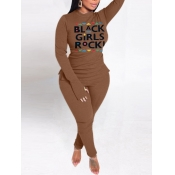Lovely Casual Turtleneck Letter Print Coffee Plus