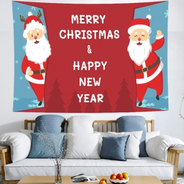 Lovely Christmas Day Print Red Wall Cloth
