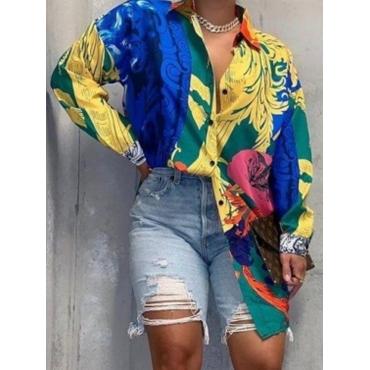 Lovely Vintage Turndown Collar Print Multicolor Bl