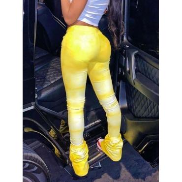 Lovely Casual Tie-dye Fold Design Yellow Pants