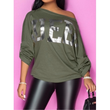 Lovely Stylish Letter Print Loose Grey T-shirt