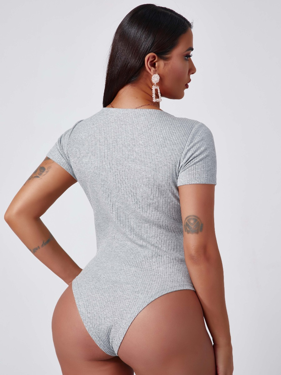 Lovely Stylish Buttons Design GreyBodysuit