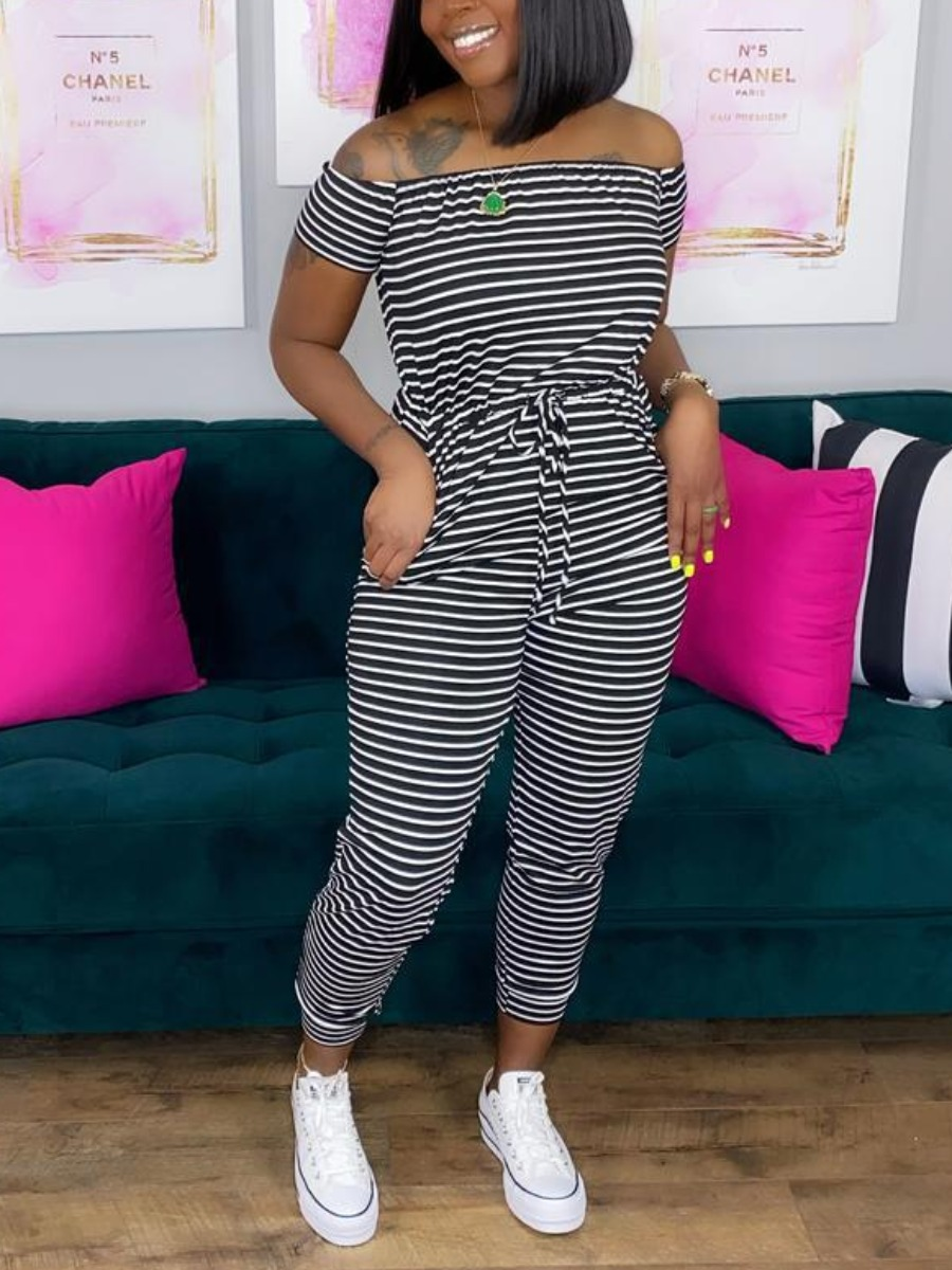 Lovely Casual Off The Shoulder Striped Lace-up Bla