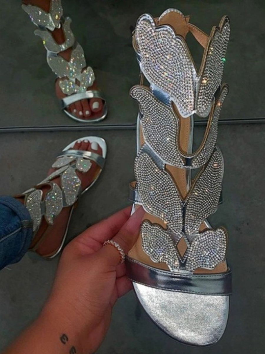 Lovely Casual Buttefly Silver Sandals