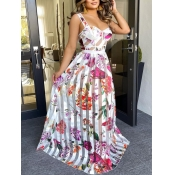 Lovely Elegant Floral Print Pleated Red Floor Length Dress