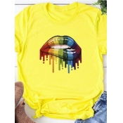 Lovely Casual O Neck Lip Print Yellow T-shirt